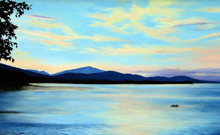 Linda Champanier oil painting of Ashokan Reservoir