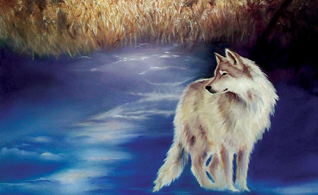 Linda Champanier oil painting girl with wolf in snow