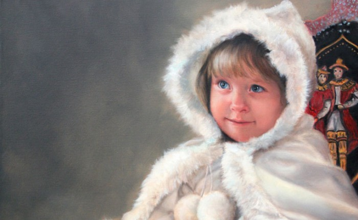 Linda Champanier oil painting of girl in fur on sleigh