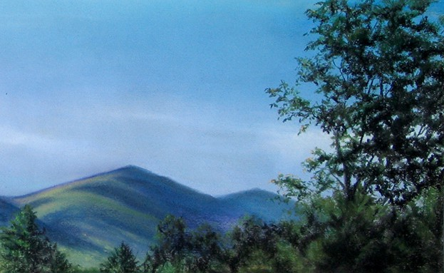 Linda Champanier pastel drawing of mountains