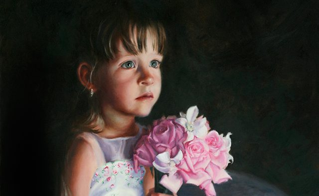 Linda Champanier oil painting girl with roses