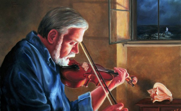 Linda Champanier oil painting of man with violin