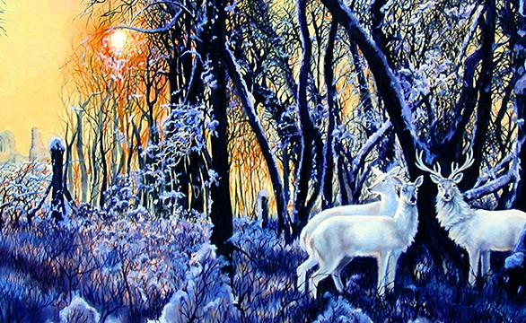Linda Champanier oil painting of white deer in snow