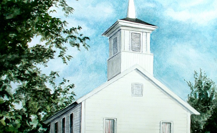 Linda Champanier watercolor painting of church