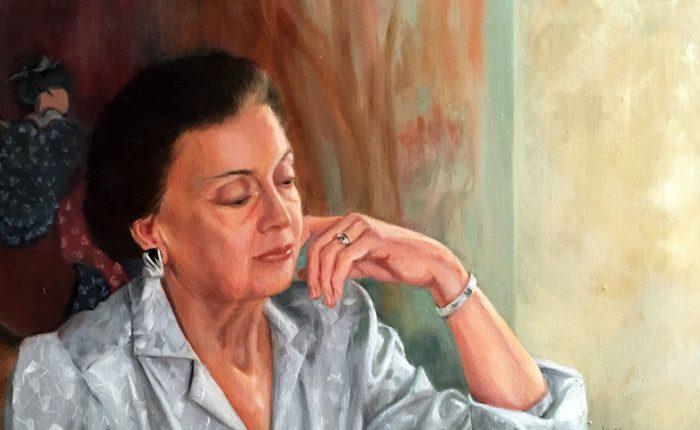 Linda Champanier painting of woman at piano