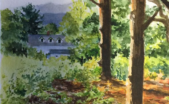Linda Champanier watercolor painting of landscape with trees and house